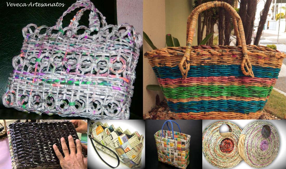 Armario Escobero Ikea ~ Faça uma bolsa com jornais Arte Reciclada