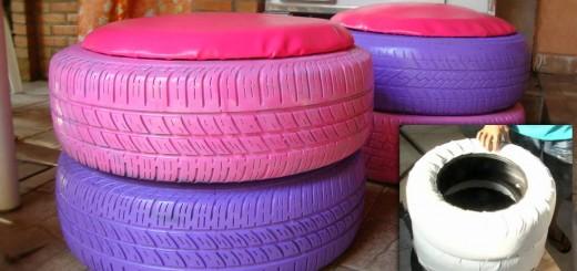 Faça um puff com pneus