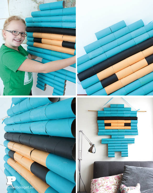 boneco reciclado de rolinhos de papel higiênico