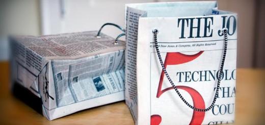 Jornal reciclado vira sacolinha de presente