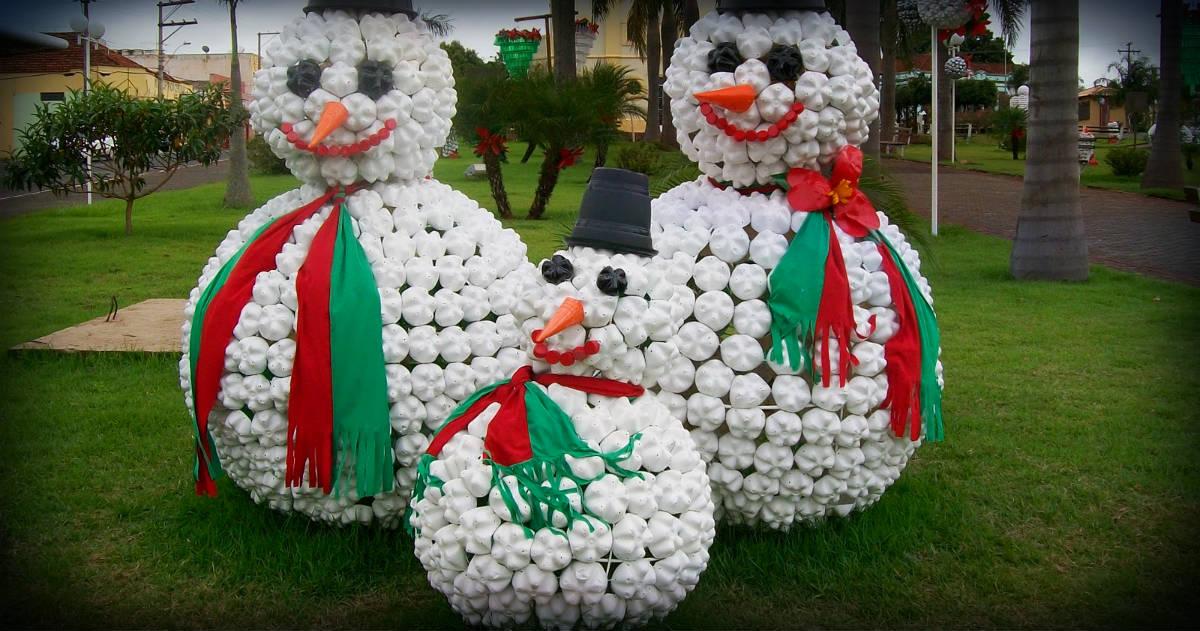 Natal decorado com garrafa PET