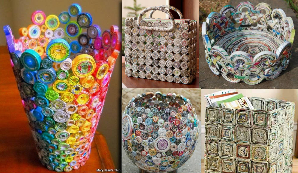a99626b32 Aprenda a fazer uma cesta com revistas velhas - Arte Reciclada