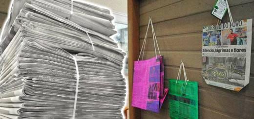 sacola reciclada feita com jornal velho