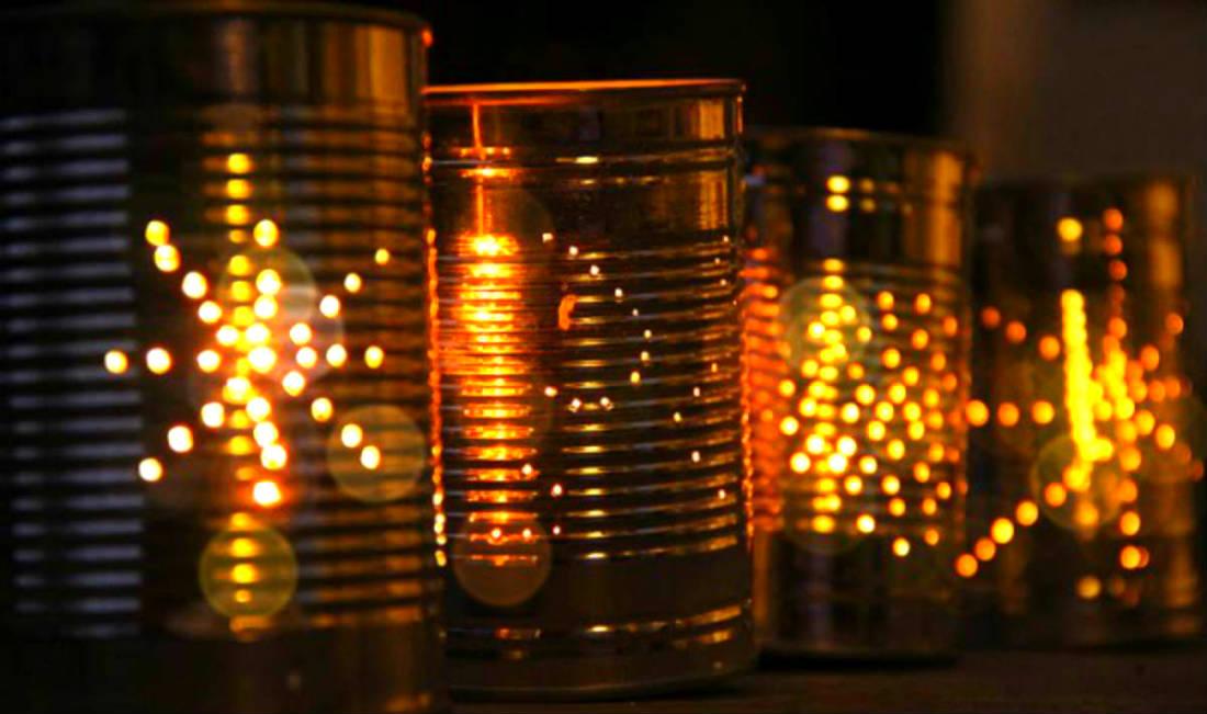 latas luminaria reciclada
