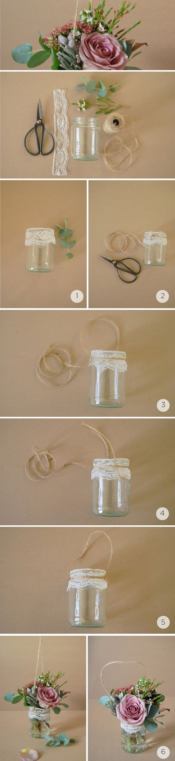 Reciclagem passo a passo com potes de vidro