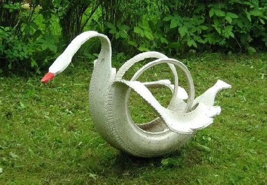 artesanato-com-pneus-cisne