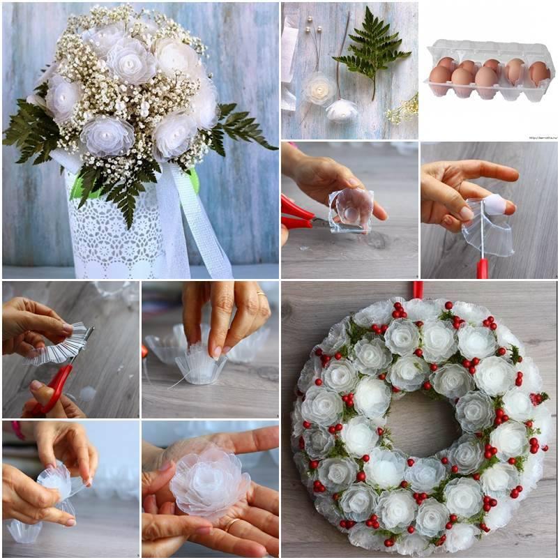 Flores recicladas feitas com caixas de ovos de papelão