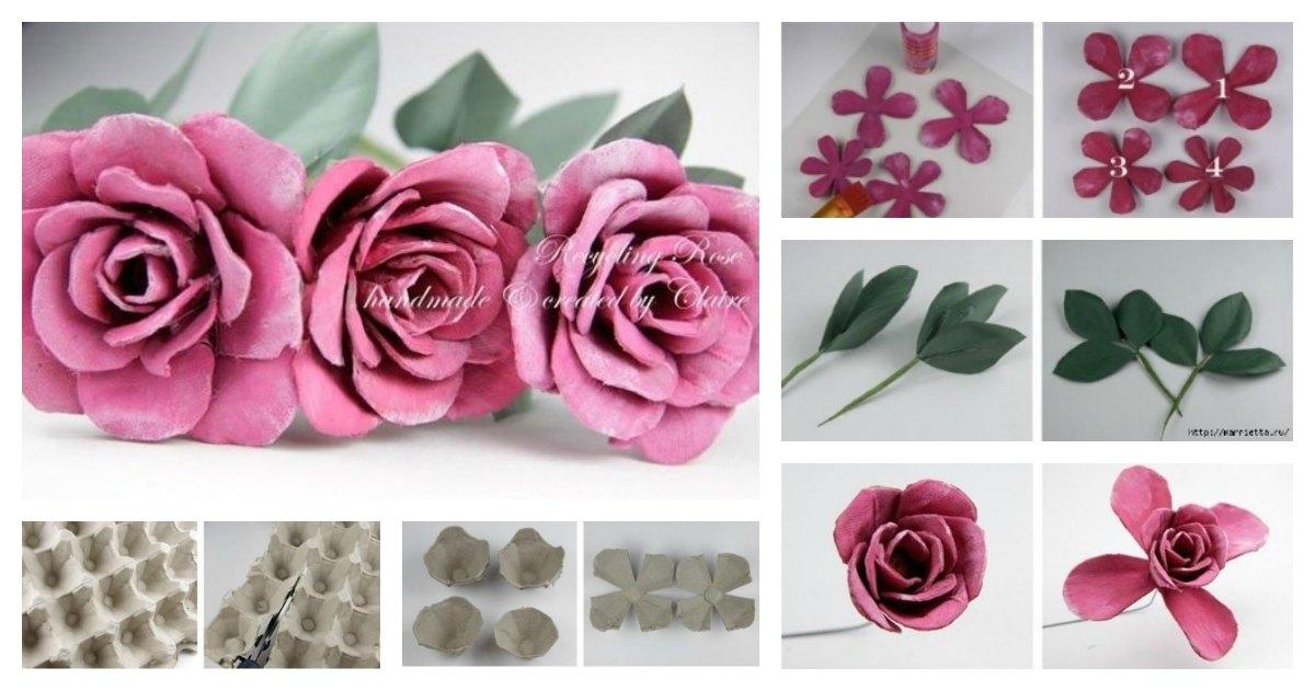 rosas feitas com caixas de ovos de papelão